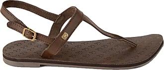 Urban Beach Ladies TRESCO Brown Leather Toe Post T BAR Beach Sandals-UK 5 (EU 38)