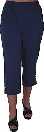 Eyecatch Eye Catch Verde Ladies Capri Crop Pants Flexi Stretch Plus Sizes Womens 3/4 Trousers Teal Size 12