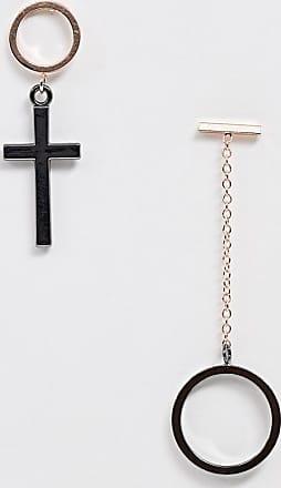 7X SVNX hoop cross earring set-Silver