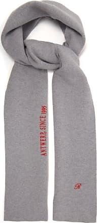 Raf Simons Logo-embroidered Wool-blend Scarf - Mens - Grey