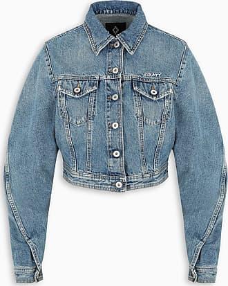 Marcelo Burlon Light-blue cropped denim jacket