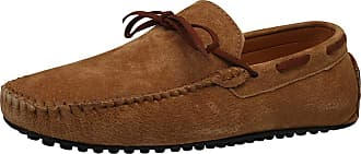 Jamron Mens Suede Leather Handmade Moccasins Comfortable Carpet Slippers Non-Slip Boat Shoes Casual Loafer Flats Brown SN19077 UK8