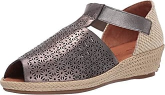 Gentle Souls Womens Luci T-Strap 3 Espadrille Wedge Sandal, Pewter 9.5 M US