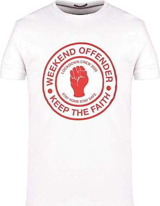 Weekend Offender Mens Keep The Faith SS T-Shirt White Red (Large)