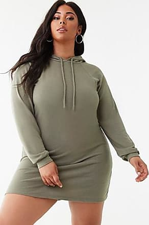 Forever 21 Plus Forever 21 Plus Size Hoodie Mini Dress Olive