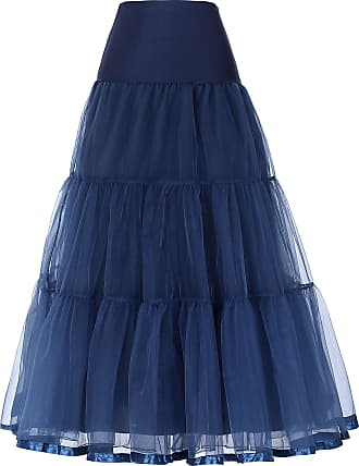 Grace Karin Rockabilly Long Half Slips for Wedding Ball Gowns Full Length A-line Petticoat Underskirt Navy Blue 3X