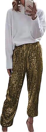 QIYUN.Z Womens Black Sequin Bling Legging Joggers Leather Pencil Pants with Drawstring Gold 2XL