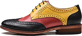 MGM-Joymod Womens 21025 Classic Lace-up Casual Vintage Simple Comfortable Perforated Wingtip Brogues Oxfords Flats Dress Leather Shoes (Red Yellow) 6.5 M UK
