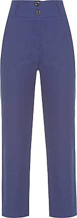 Cantão Calça Alfaiataria Linho Chevron - Azul