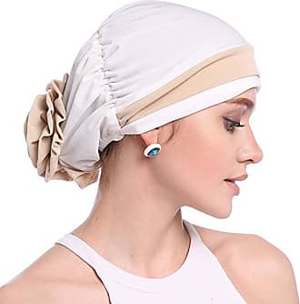 Laisla Fashion Turban Damenmütze Muslim Headscarf for Baldness Classic Cancer Chemo Headgear Headscarf Set Vintage Style Basic Clothing Accessories (Color : White, O
