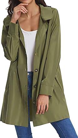 NPRADLA 2020 Womens Solid Rain Jacket Outdoor Hoodie Waterproof Long Coat Overcoat Windproof (XL/UK 16, ZZZ-Green)