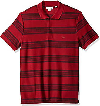 501d0cdd Lacoste Mens Short Sleeve Striped Heavy Wintery Caviar Pique Polo, Turkey  Red/Vendange,