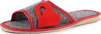 Ladeheid Womens Slippers House Shoes LAFA016 (Dark Melange/Red, 39 EU = 6 UK)