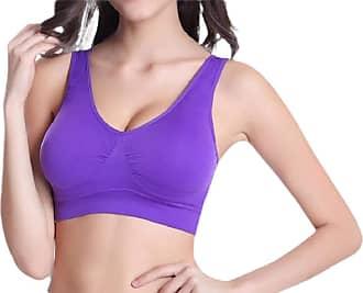 Abetteric Sutiã esportivo feminino Abetteric sem aro grande sem aro para ioga e alto impacto, Roxa, XX-Large