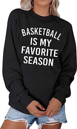 Dresswel Women Basketball is My Favorite Season Sweatshirt Pullover Long Sleeve Tops Jumpers Blouse Black