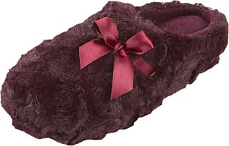 Forever Dreaming Ladies Womens Mule Slippers Memory Foam Faux Fur Warm Indoor FOREVER DREAMING Burgundy 5 UK