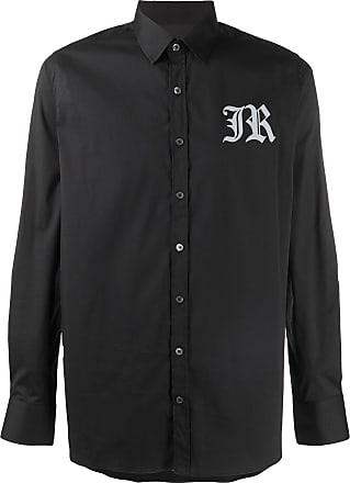 John Richmond Camisa mangas longas com estampa de logo - Preto