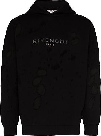 Givenchy Moletom com capuz e efeito destroyed - Preto