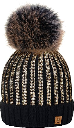 4sold Womens Ladies Winter Hat Knitted Beanie Large Pom Pom Cap Ski Snowboard Hats Bobble Gold Circle (Black Gold)