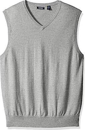 Izod Mens Premium Essentials Solid V-Neck 12 Gauge Sweater Vest, New Light Grey, Medium