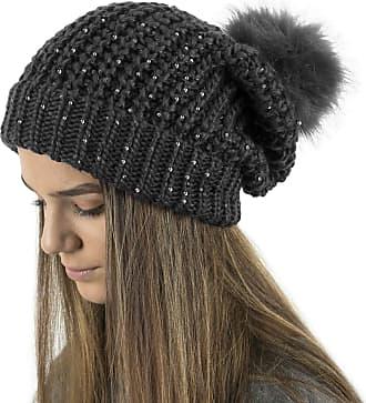 TOSKATOK Ladies Chunky Knit Slouch Beanie with Sparkle Accent Sequins and Faux Fur Detachable Pompom Black