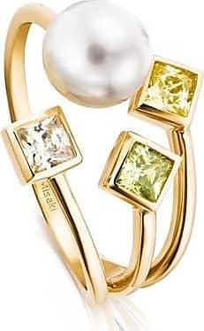 Misaki Bague Sunbeams dorée avec perle de culture blanche - taille 50