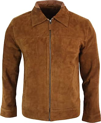 Infinity Mens Real Suede Leather Classic Zip Jacket Camel Turn Down Collar Vintage Retro
