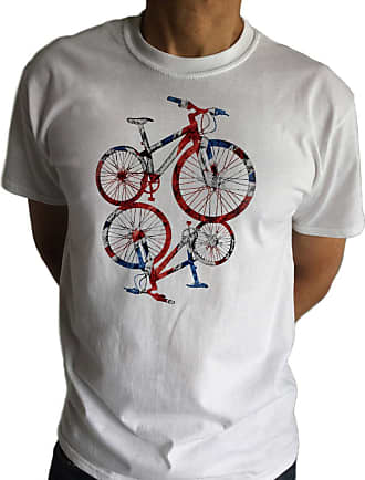 Irony Mens White T-Shirt Graphical Bicycle Union Jack Iconic Print TSX2 (XLarge)