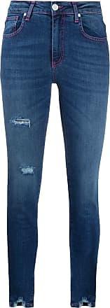 Frankie Morello Calça jeans skinny cintura média com efeito destroyed - Azul