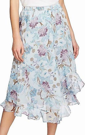Vince Camuto Womens Poetic Blooms Floral Asymmetric Maxi Skirt Blue US XL