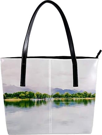 Nananma Womens Bag Shoulder Tote handbag with Chiemsee Lake View Print Zipper Purse PU Leather Top-handle Zip Bags