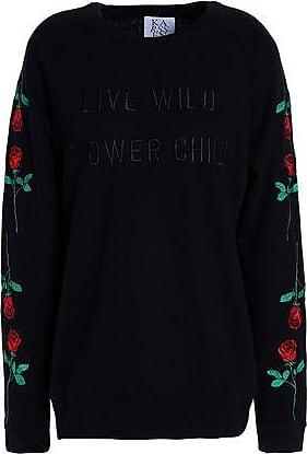 Zoe Karssen Zoe Karssen Woman Embroidered French Cotton-blend Terry Sweatshirt Black Size L