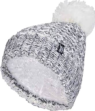 Heat Holders Ladies Nordic Knit Fleece Lined Cuffed Thermal Winter Bobble Hat with Pom Pom (One Size, Black (Lund))