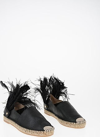 Valentino GARAVANI Leather Espadrilles with Feathers Application Größe 35