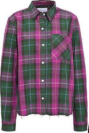 Current Elliott Current/elliott Woman The Ivie Split-back Checked Cotton-twill Shirt Forest Green Size 1
