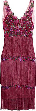Marchesa Marchesa Notte Woman Tiered Fringed Embellished Tulle Dress Plum Size 14