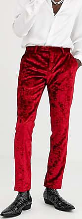 Twisted Tailor Pantaloni da abito in velluto riccio rossi-Rosso