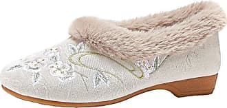 ICEGREY Womens Embroidered Shoes Fleece Lined Chinese Style Loafer Flats Plum Beige 5.5