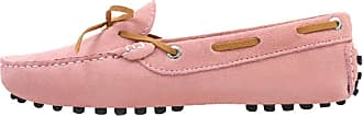 MGM-Joymod Ladies Womens J1016 Casual Slip-on Knot style2 Pink Suede Leather Walking Driving Loafers Flats Moccasins Hiking Shoes 6.5 M UK