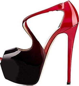 72de8389190e90 Onlymaker Damenschuhe High Heels Pumps Stiletto Peep Toes Schuhe Plateau  Lackleder Rot und Schwarz EU39