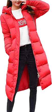 VITryst Womens Winter Solid Down Jacket Zip Quilted Hooded Long Puffer Down Coat,Red,X-Large