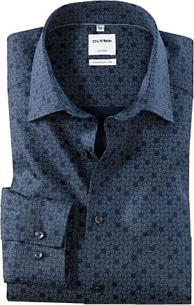 Olymp Patterned Formal Shirt 100% Cotton Long Sleeve Breast Pocket 19.5 / 50cm Navy