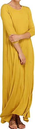 Yoins Womens Loose Maxi Dress 3/4 Long Sleeve Dress Round Neck Spring Casual Baggy Solid Long Dresses with Pockets Yellow XXL