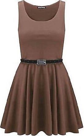 Momo & Ayat Fashions Momo Fashions - Ladies Belted Pleated Plus Size Franki Skater Dress (UK 12-14 (EUR 40-42), Mocha)