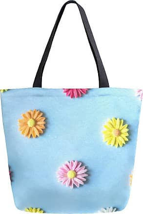 NaiiaN for Women Girls Ladies Student Handbags Colorful Daisy Flowers Cute Light Weight Strap City Shoulder Bags Purse Shopping Tote Bag