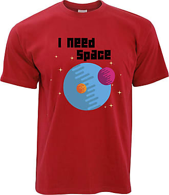Tim And Ted Novelty Nerd T Shirt I Need Space Planets Slogan - (Red/Medium)