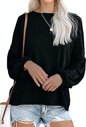 Dresswel Womens Blouse Crew Neck Long Sleeve Tops Lantern Sleeve Pullover Basic Shirts Jumpers Black