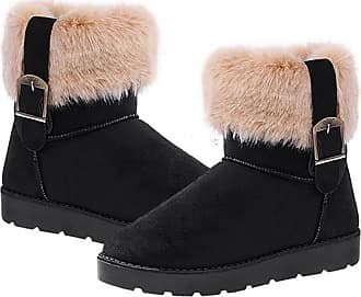 Zeagoo Warm Winter Ankle Boots Women Cute Bowtie Faux Fur Low Heels Mid Calf Snow Boots Black