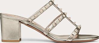 Valentino Garavani Valentino Garavani Rockstud Metallic Calfskin Leather Slide Sandal 60 Mm Women Skin Lambskin 100% 35.5
