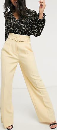 Topshop wide leg trousers in buttermilk-Beige